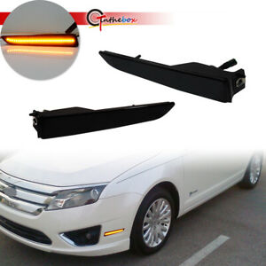 For 2010 2012 Ford Fusion Smoked Lens Front Bumper Side Marker Led Lights Lamps