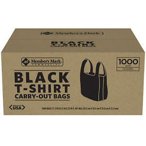 Member s Mark Black T shirt Carryout Bags 1 000 Ct Size 11 5 X 6 5 X 22