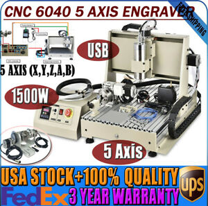 Usb 1500w 5axis 6040 Cnc Engraving Machine Engraver Metal Woodwork Vfd Sys