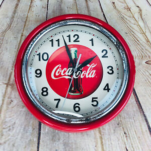 VTG Coca Cola Clock  Red Round Metal Quartz Coke Battery Powered Mancave Decor