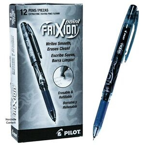 Pilot 31573 Black Frixion Point 0 5mm Extra Fine Erasable Gel Ink Pens Box Of 12