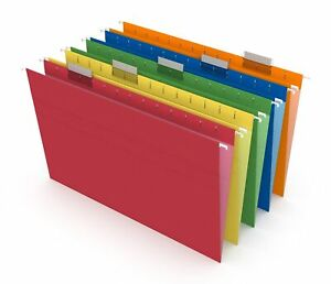 Myofficeinnovations Hanging File Folders 5 tab Legal Size Assorted Colors 25 bx