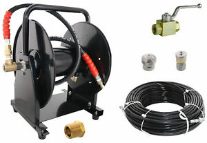 Scheiffer Sewer Jetter Kit Ball Valve Hose Reel 1 8 X 200 Hose And Nozzles