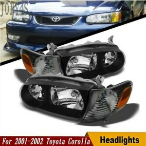 For 2001 2002 Toyota Corolla Blk Headlights Corner Signal Lamps 01 02 lh rh