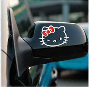 A Pair Of White Cute Hello Kitty Rearview Window Car Decal Stickers