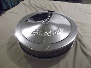 Edelbrock Pro flo Series Air Cleaner 1224 Chrome 14 Dropped Base