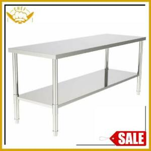 Commercial Large Stainless Steel Bench Table Home Kitchen Work Food Grade Prep