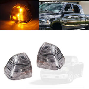 Amber Led Side Mirror Turn Signal Lights For Dodge Ram 1500 2500 3500 Clear Lens