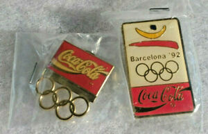 Two 1992 Coca-Cola Olympics Barcelona Pins/Mint in Package