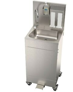 Acorn Portable Stainless Steel Hand Wash Station Sink New Foot Operated