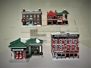 Coca Cola Trim A Tree Ornaments Lot of 4 1930's Service Station  Pharmacy  House