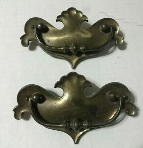 Lots 2 Antique Vintage Brass Bail Drop Drawer Pull Handle K B Co 1 N 609