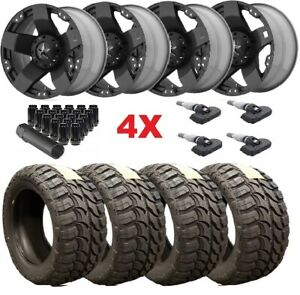 24x12 Black Wheels Rims Tires 35 12 50 24 Xd Wrangler Gladiator Fuel Mud M T