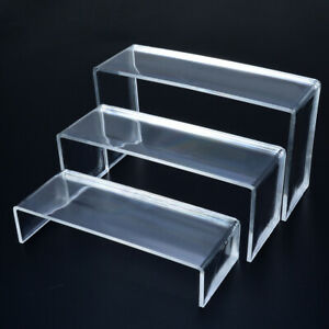 3pcs Clear Acrylic Display Showcase Stand Rack For Shoes Jewelry Cosmetics