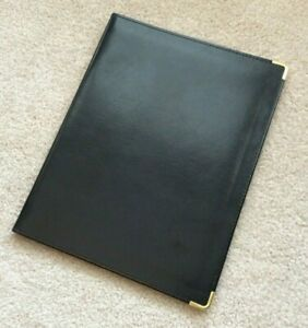 Vtg Hazel Blk Faux Leather Writing Note Pad Folio Portfolio Cover Folder Holder