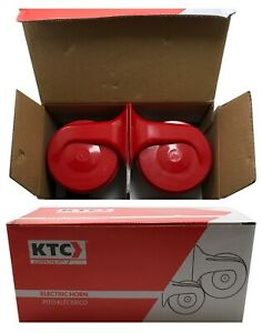 Ktc Universal Red Snail Electric Air Horn Set High 500 Low 400 With Relay Kit Fits Porsche 911