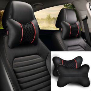 Black 2pcs Pu Leather Car Seat Head Neck Rest Cushion Pad Headrest Pillow
