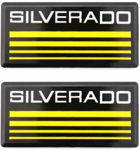 2x Cab Emblems 3d Badge Side Roof Pillar Decal Plate For Chevy Silverado Yellow
