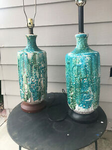 Pair Of Mid Century Modern Blue And Green Lava Drip Glaze Ceramic Table Lamps