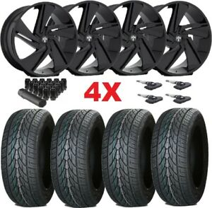 Gloss Black Wheels Rims 305 35 24 Tires Dub F 150 Navigator Expedition Lexani