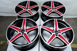 16x7 4x100 4x114 3 Red Rims Fits Honda Accord Sentra Civic Altima 4 Lug Wheels