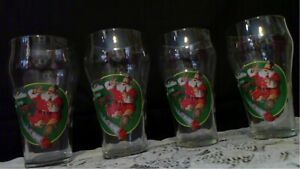Coca -Cola Vintage Christmas 1996 Drinking Glasses Santa w/ Train set of 4  EUC