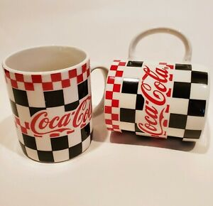 Vintage 1996 Coca-Cola Gibson Red/Black/White Racing Checkered Coffee Mugs (2)