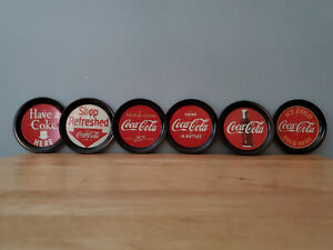 COCA COLA COASTERS TRAYS METAL SET OF 6 Nice Set
