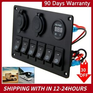12 24v Car Marine Boat 6 Gang Dual Usb Blue Led Rocker Switch Panel Breaker