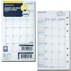 2021 Filofax Personal Size Refill 21 68410 Month On Two Pages 95mm X 171mm