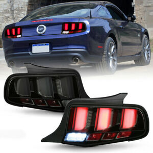 Black Smoke Sequential Led Tube Tail Light Brake Signal For 2010 14 Ford Mustang