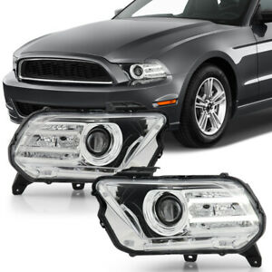 For 10 12 Ford Mustang halogen Model Chrome Projector Headlight Front Lamp Set