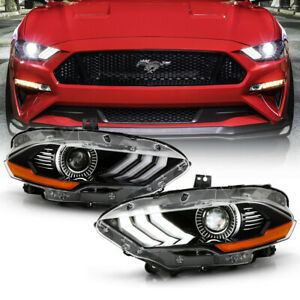 Led Model Fit 2018 20 Ford Mustang Factory Style Headlights Front Lamp Housing