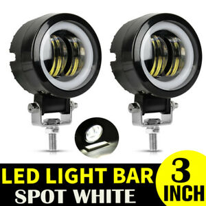2x 40w 3inch Round Led Work Spot Lights Bar White Halo Offroad Truck 4wd 12v