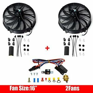16 Universal Electric Radiator Cooling Fan 12v Black X2 Thermostat Relay Kit