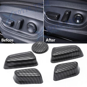 For Toyota Camry 2018 2020 Carbon Fiber Style Seat Adjustment Switch Cover Trims