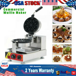 Commercial 110v Nonstick Rotating Ice Cream Waffle Maker Cone Iron Baker Machine