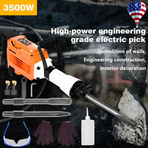 3500w Electric Demolition Jack Hammer Concrete Breaker Punch 2 Chisel Bit 9 5ft