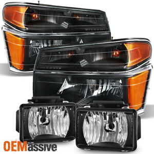 Fit 2004 2012 Chevy Colorado Gmc Canyon Pickup Black Headlights Fog Lights