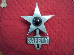 Vintage Safety Star License Plate Topper Ornament Red Dot Hot Rod Rat Rod