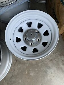 Chevrolet Truck White 15x8 Spoke Rally Wheel Steel 5 Lug 51038 With Center Cap