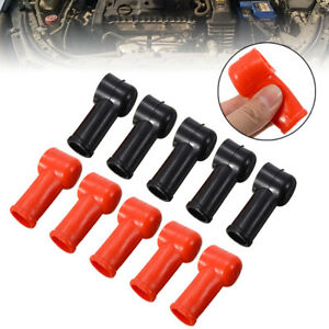 10pcs Black Red Battery Terminal Protective Covers Round Insulating Caps Kits