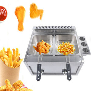 Commercial Deep Fryer 6l 2 Countertop Kitchen Liquid Propane Or Natural Gas