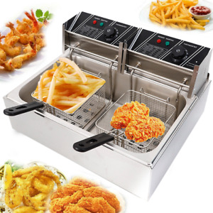 5000w 12l Stainsteel Electric Deep Fryer Dual Tank Commercial Restaurant
