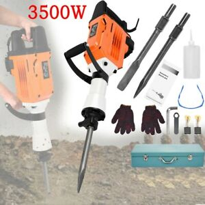 3500w Electric Demolition Jack Hammer Concrete Breaker Punch 2 Chisel Bit 60j Us