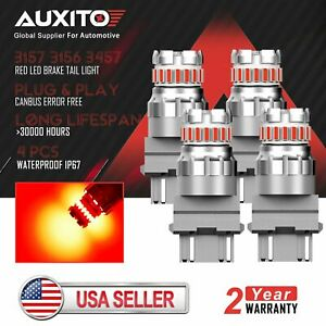 4x Auxito 3157 Led Brake Tail Stop Red Light Bulb Error Free 3156 4057 3057 3457
