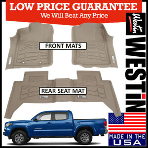 Westin Sure Fit Floor Mats Liners Fit 2005 19 Toyota Tacoma Double Cab Tan