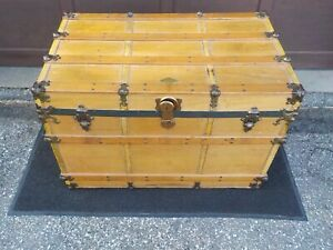 Vintage Steamer Trunk By Henry Likly Co Of Rochester Ny Large Antique Trunk