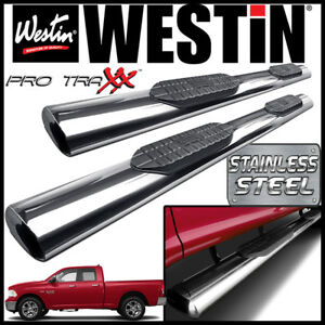 Westin Pro Traxx 6 Stainless Oval Nerf Step Bars Fit 2009 2019 Ram 1500 Quad Cab