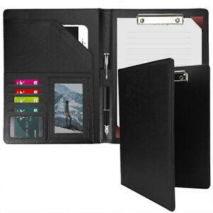 Business Leather Padfolio Portfolio Folder Organizer Resume Notebook Black Women